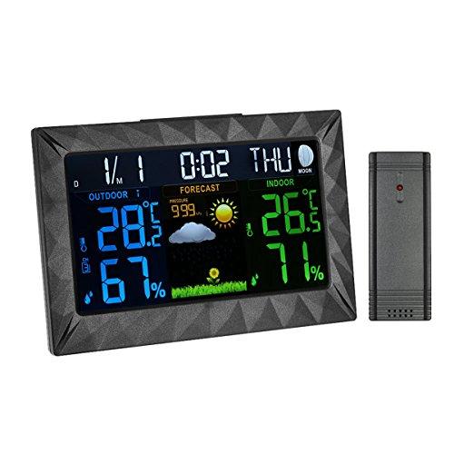Digital Wetterstation Funkwetterstation mit außensensor Farbdisplay Mondphasen-Anzeige Luftfeuchtigkeit Wetter Station Hygrometer DCF-Empfangssignal/Innen- und Außentemperatur Wettervorhersage