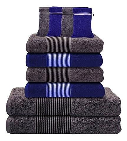 Liness Stripes 10 tlg Handtücher Set blau grau 4 Handtücher grau blau 50x100 cm 2 Badetuch Duschtuch 70x140 cm grau 4 Waschhandschuhe Waschlappen 100% Baumwolle Frottee Handtuch-Set grau