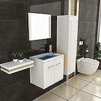 Bad1a Waschbecken Mit Unterschrank Hochschrank Weiß Hochglanz U0026 Spiegel  Waschplatz Design Badezimmer Möbel Mineralgussbecken Formschön
