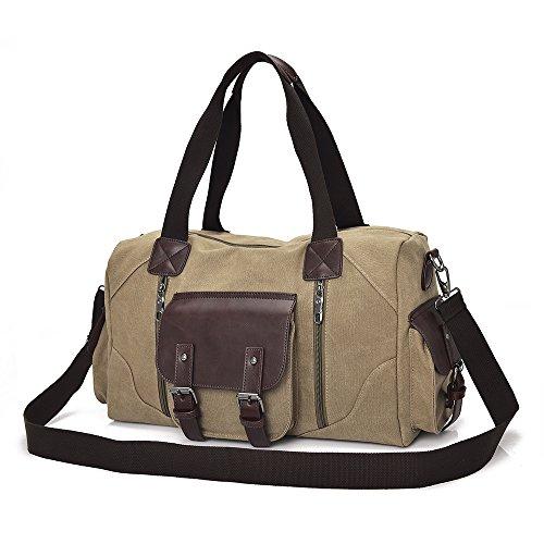 MANJH Schultertasche Aktentasche Herren Canvas Umhängetasche Kuriertasche Retro Leinwand Handtasche Wochenende Reise Duffel Bag Multiple Pocket, Khaki Khaki