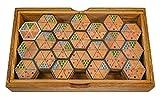 Logoplay Holzspiele Hexadomino - Hexamino - Sechseck-Domino - Legespiel - Gesellschaftsspiel aus Holz mit 63 Spielsteinen