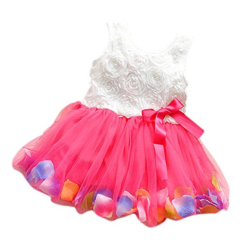 TOOGOO(R) Baby Girl Toddler Occasion Party Wedding Birthday Flower Summer Kids Dress rose red 110