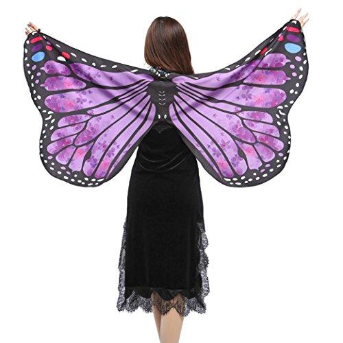 M Weiche Gewebe Schmetterlings Flügel Schal feenhafte Damen Nymphe Pixie Halloween Cosplay Weihnachten Cosplay Kostüm Zusatz (Lila-A, 147*70CM) (Heilige Hund Kostüm)