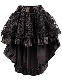 r-dessous Damen Rock schwarz Burleske Victorian Gothic Steampunk Skirt Corsage Chiffon Übergrößen Vintage