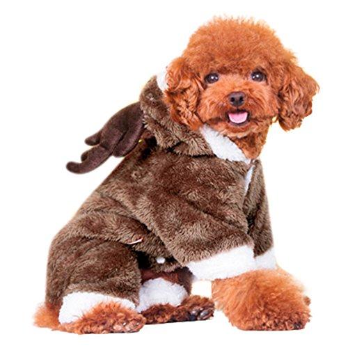 Moolecole Elch Haustier Kostüm Hund Kleider Chihuahua Bekleidung Verdickung Kleidung Für Herbst Und Winter Braun (Batman Kostüm Hund Superman)