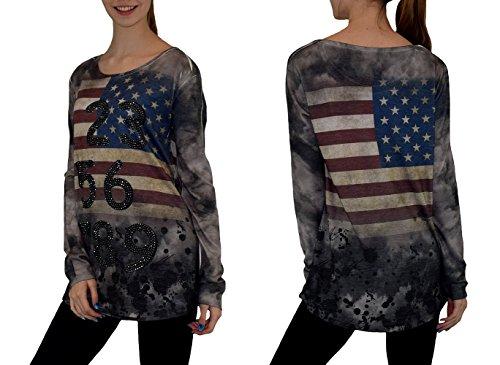 S&LU Damen Langarmshirt im angesagtem Design und super Batik- Waschung S - XL, 36 - 42 Rot-Brücke