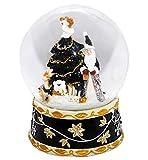 Minium Collection 20020j Schneekugel Weihnachtsmann mit Spieluhr Jingle Bells, schwarz, Silber Gold