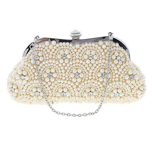 Damara® Perle Clutches Graziös Brauttasche Damenhandtasche Weiß