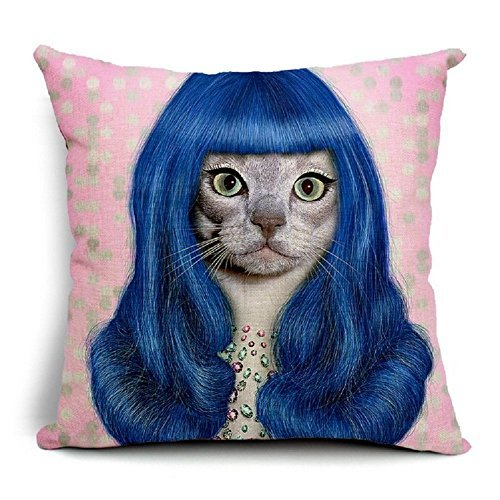 al Stars Cat Cosplay Katy Perry 18 X 18 Creative Fashion Cotton Linen Square Decorative Throw Pillow Cover ()
