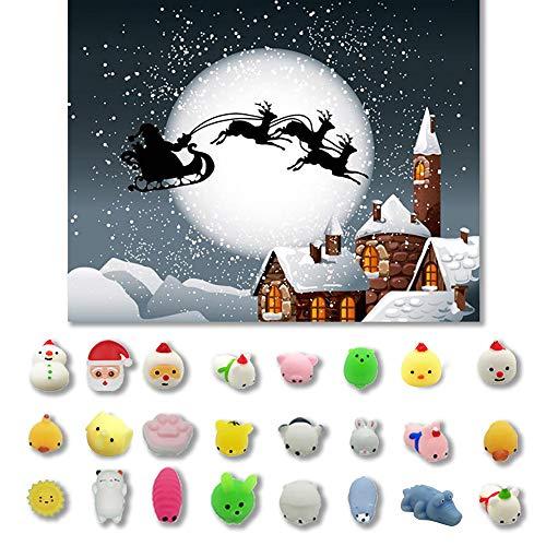 Gaddrt Christmas Cartoon Spielzeug 24PC Weihnachten Spielzeug Mini Cute Squeeze Lustiges Spielzeug Weiche Stressabbau Spielzeug (E)