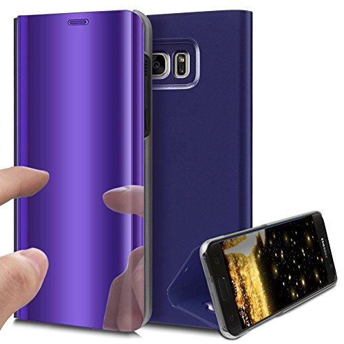 HMTECH Galaxy S6 Funda Espejo Mirror Cuero de PU Bookstyle Swag Flip Leather Protector de Cuerpo Completo Carcasas Case para Samsung Galaxy S6,Purple Mirror PU