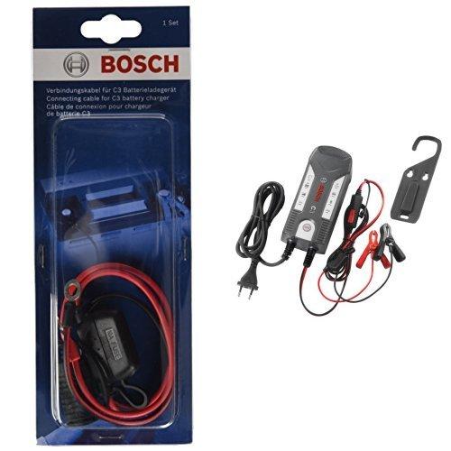Robert Bosch 0 189 999 230 - Cavo adattatore e Bosch 018999903M - Caricabatteria C3 per Auto/Moto