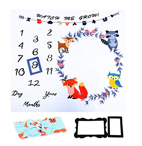 Citihomy Baby Monatliche Meilenstein Decke Neugeborene Mädchen Foto Requisiten Triebe Kulisse Hintergrund Farbe Fuchs Eule Fawn Vogel Fotografie Wachsende Säuglinge Kleinkinder Wickeln Decke
