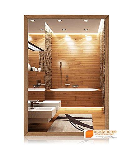 Infrarotheizung Spiegel mit Holz Rahmen in Eiche - Spiegelheizung mit Rahmen, 210 Watt - 60 x 40 x 3 cm