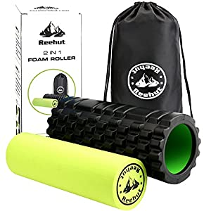 Reehut 2-in-1 Foam Roller Trigger Point Massage for Painful Tight Muscles + Smooth Rollers for Rehabilitation! FREE CARRY CASE!