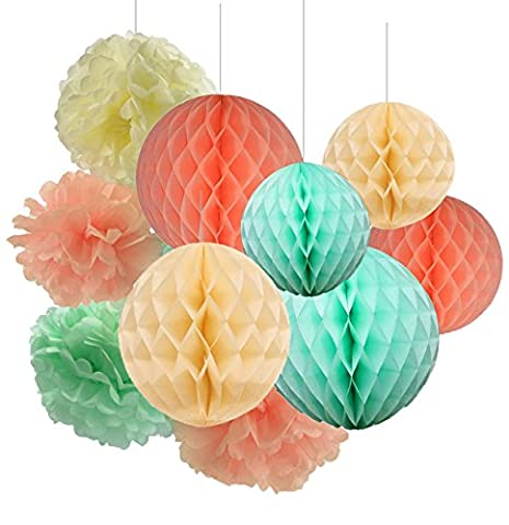 Furuix Mint Green Peach Cream TIssue Paper Honeycomb Balls Tissue Paper Pom Pom Paper Decorations Hanging for Baby Shower Bridal Shower Birthday Decor Wedding Decor Party Decor Wall Hanging Decoration Mint Green