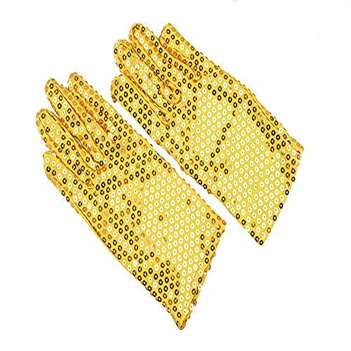 Xihaa guanti paillette oro/per adulti, guanti mj singer, guanti da danza riflettenti glitterati, adatti per spettacoli, regali, natale, capodanno,gold,child
