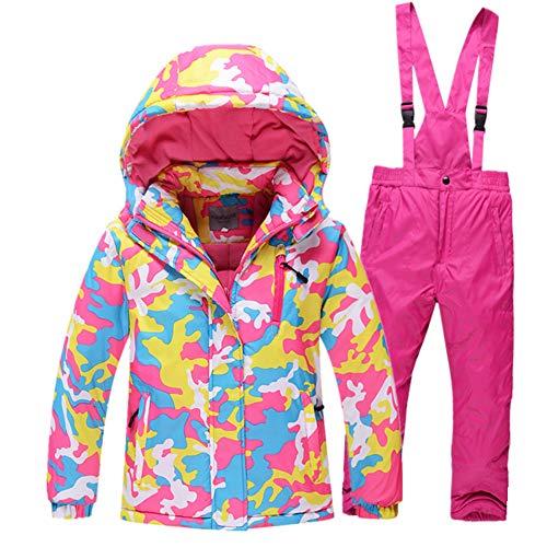 LPATTERN Kinder Jungen/Mädchen Skifahren 2 Teilig Schneeanzug Skianzug(Skijacke+ Skihose mit unabnehmbarem Träger), Pink, Gr. 104/110(Herstellergröße: 4A/110cm) | 08712129539041