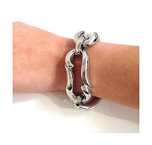 Bracelet en bronze brillant | mouillé en or ou argent 925| Matex 6 Bagnato in argento H 4 cm