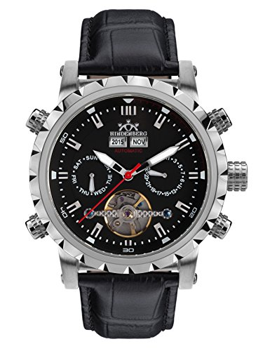 Hindenberg 370-H Expeditor Stahl schwarz mit Lederarmband Herren Automatik Armbanduhr