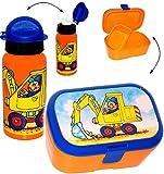 Unbekannt 2 TLG. Set _ Lunchbox / Brotdose & Trinkflasche -  Bagger & Baustelle  - mit extra Einsatz / herausnehmbaren Fach - Brotbüchse Küche Essen - Sportflasche - ..