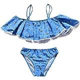 HAOKTY Kinder Mädchen Sommer Zweiteiler Bikini Quaste Set Tops & Slips Teenager Schwimmanzug Tankini Bademode (Navy, 140)
