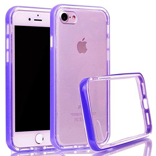 Voguecase® für Apple iPhone 7 4.7 hülle, Schutzhülle / Case / Cover / Hülle / TPU Gel Skin (macaron 03) + Gratis Universal Eingabestift Transparente Grenze/Lila