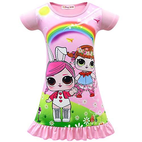 QYS Die Pyjama Party Girls LOL Überraschung Night Dress Nighty Nachthemd Pink Dress Pagent Theme,pink,100cm (Pagent Kleider Für Kinder)