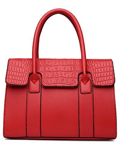 Damen PU Leder Henkeltaschen Schultertaschen Tasche Handtasche Handtasche Blau Rot
