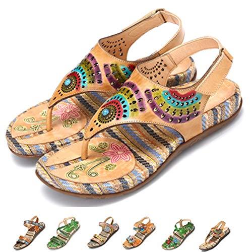 Gracosy sandali infradito da donna piatti in pelle estate spiaggia in boemia stile scarpe punta della sandali strass piatti dunlop slip on clip sandali taglia 37-42 rosso beige blu con comoda suola