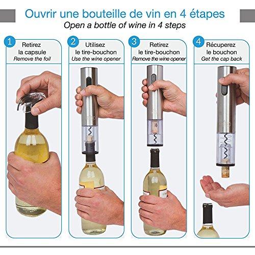 Tire bouchon électrique sans-fil Twinz'up - Coffret avec coupe-capsule et socle de recharge - Batterie de seconde génération - Le cadeau idéal pour tous les amateurs de vins et d'oenologie