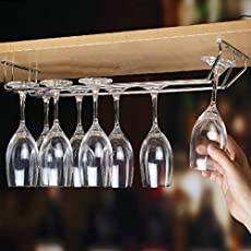 Plantex Planet Wine Glass Rack/Holder Upside Down Glass Hanging Organizer For Pubs/Kitchen/Bars (Double Line)
