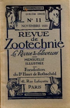 REVUE DE ZOOTECHNIE (LA) [No 11] du 01/11/1935
