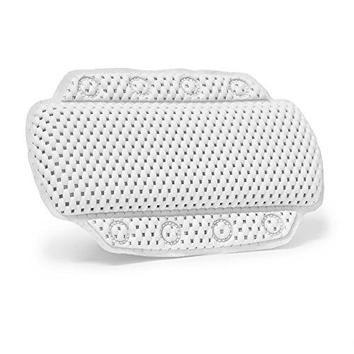 Relaxdays 10019242 Badewannenkissen mit 8 Saugnäpfen Nackenkissen aus weichem PVC Schaum bequemes Stützkissen für die Wanne, weiß