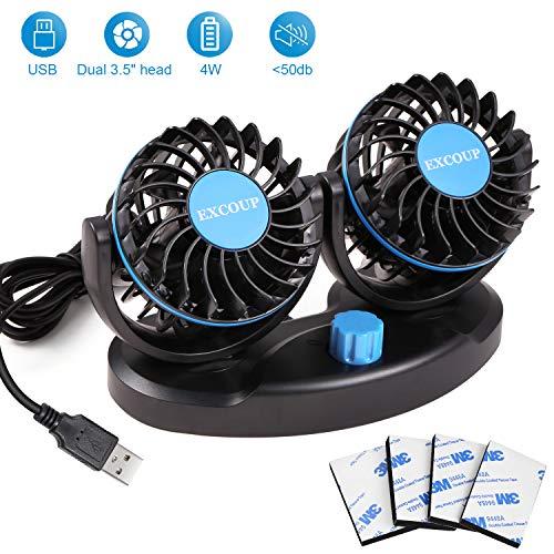 EXCOUP USB Ventilator USB-Ventilatoren mit 2 Geschwindigkeiten, Einstellbarer Mini Auto Ventilator, Tischventilator Gleichstrom 5V Doppelkopf Rota-Tisch Geräuscharm
