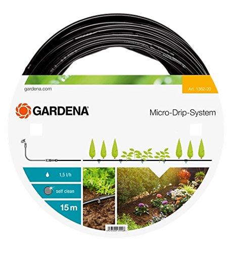 """GARDENA Micro-Drip-System Tropfrohr oberirdisch 4.6 mm (3/16\""""): Tropfschlauch zum oberirdischen Verlegen, wassersparend, hochflexibel, 15 m (1362-20)"""