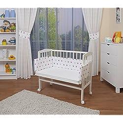 WALDIN Lit cododo pour bébé/berceau avec matelas et tour de lit,bois blanc laqué,16 modèles disponibles,Surface de couchage extra large : L 90 x l 55,couleur du textile blanc/astre gris-rose