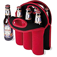 Mystery Wine Champagne Bottle Tote Bag Insulated Neoprene 6 Pack Beer Drinks Carrier with Secure Carry Handle(Red)