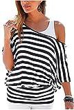 Uniquestyle Damen Gestreiftes T-Shirt Sommer Kurzarm Oberteile 2 in 1 Strandshirt Weiß-Schwarz M