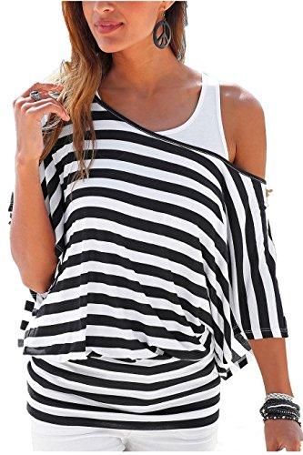 Uniquestyle Damen Gestreiftes T-Shirt Sommer Kurzarm Oberteile 2 in 1 Strandshirt weiß-Schwarz XXL