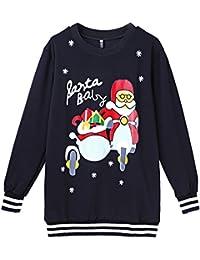 EOZY Sweat-Shirt Noir Noël Père Imprimé Traîneau Rayure Sport Party