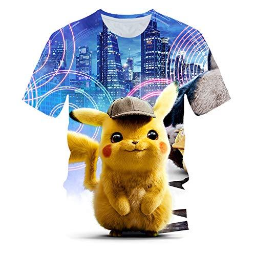 Männer T-Shirt,85% Polyester Super Elastisch Atmungsaktiv Sommer Männer Kurze Ärmel,Großer Detektiv Pikachu 3D Digital Pokemon Kind Kleidung(Kaufen Sie einen, erhalten Sie einen gratis)| 01,S