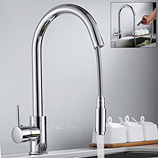 Kitchen Sink Taps Hole Pull Out Sprayer Kitchen Faucet Chrome Monobloc Mixer Tap Single Lever with UK Standard Fittings 10 Years Quality Warranty