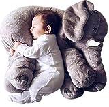 Babykissen Elefant von JYSport, Plüschtier, Kuscheltier, Schlaftier für Babys aus Baumwolle, grau