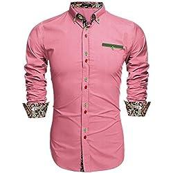 Coofandy Camisa Casual Manga Larga para Hombre de Moda Rosa Talla-XL