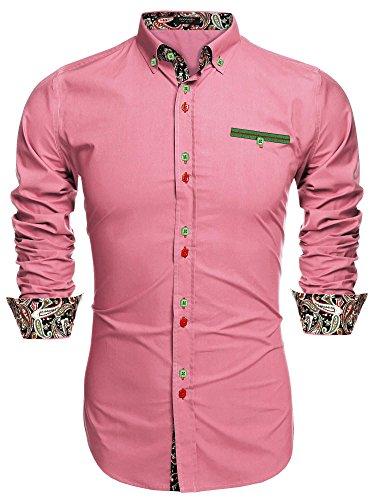 Coofandy Camisa Casual Manga Larga para Hombre de Moda Rosa Talla-M