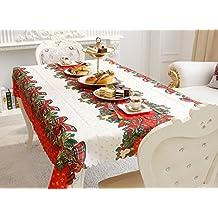 a75aa6a885 Sudook tovaglia con colorato motivo natalizio, 150 x 180 cm, ideale per  feste e