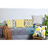 STITCHNEST Ikat Yellow Grey Printed Canvas Cotton Cushion Covers,Grey,Yellow Set of 5 (16 x 16 Inches)