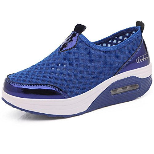 Hishoes Damen Netz Plateau Sneaker Schuhe Outdoor Mesh Keilabsatz Loafer Freizeit Slip On Wedge Platform Laufschuhe Sommer (Low Wedge-flache Schuhe)