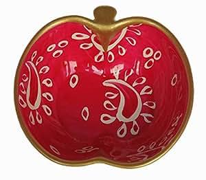 Joli petit bol forme Pomme, Vide-poche, arts de la table 'Cachemire Rose' peint à la main sur les deux cotés